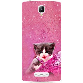 Snooky Printed Pink Cat Mobile Back Cover For Oppo Neo 3 R831k - Multicolour