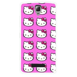 Snooky Printed Pink Kitty Mobile Back Cover For Lenovo A2010 - Multicolour