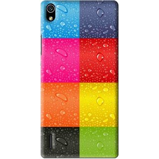 Snooky Printed Water Droplets Mobile Back Cover For Huawei Ascend P7 - Multi