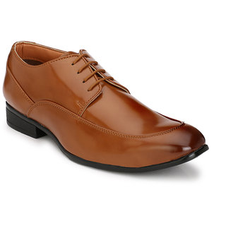 Hirels Tan Derby Vamp Synthetic Leather Formal Shoes