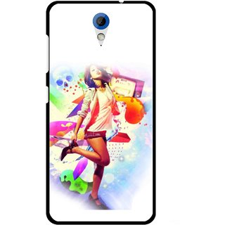 Snooky Printed Shopping Girl Mobile Back Cover For HTC Desire 620 - Multicolour