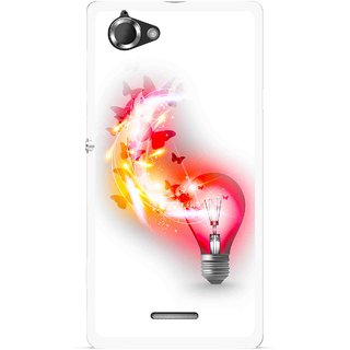 Snooky Printed Butterly Bulb Mobile Back Cover For Sony Xperia L - Multicolour