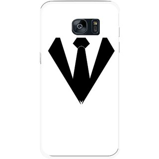 Snooky Printed Tie Collar Mobile Back Cover For Samsung Galaxy S7 Edge - Multicolour
