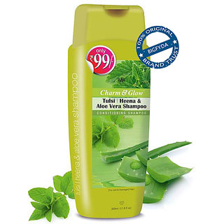 Charm  Glow Tulsi Heena  Aloe Vera Conditioning Shampoo for Damaged Hair 350 ML