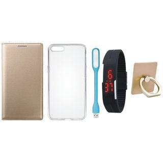 Oppo A37 Leather Flip Cover with with Ring Stand Holder, Silicon Back Cover, Digital Watch and USB LED Light