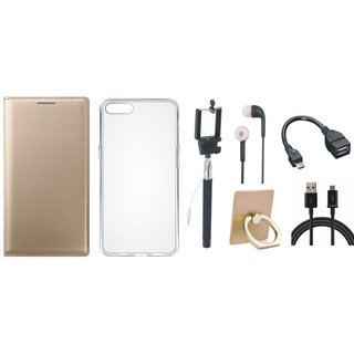 Moto E4 Plus Flip Cover with Ring Stand Holder, Silicon Back Cover, Selfie Stick, Earphones, OTG Cable and USB Cable