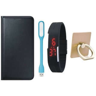 Moto E4 Plus Leather Flip Cover with with Ring Stand Holder, Digital Watch and USB LED Light