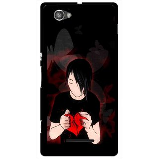 Snooky Printed Broken Heart Mobile Back Cover For Sony Xperia M - Multicolour