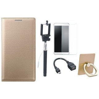 Moto E4 Plus Premium Leather Cover with Ring Stand Holder, Free Selfie Stick, Tempered Glass and OTG Cable