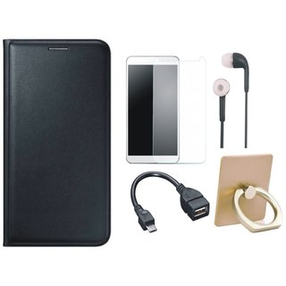 Vivo Y69 Stylish Cover with Ring Stand Holder, Tempered Glass, Earphones and OTG Cable