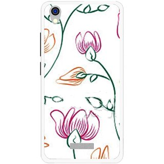 Snooky Printed Flower Sketch Mobile Back Cover For Lava Iris X9 - Multi