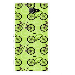 Snooky Printed Cycle Mobile Back Cover For Sony Xperia M2 - Multicolour