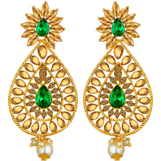 Spargz Gold Plated Antique Big Long Indian Style Bridal Green AD Stone Drop  Wedding Earrings For Women AIER 1337