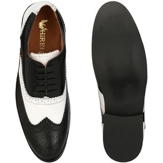 de4cbe24bb7 Hirel's Black White Brogue Original Leather Formal Shoes