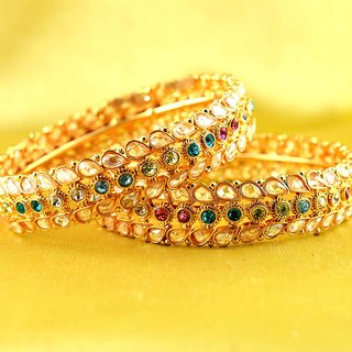 bangle  stone cz ad polki pearl moti  gold silver platted  size-2.8