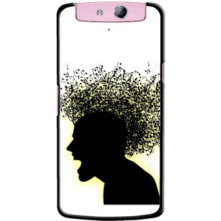Snooky Printed Music Fond Mobile Back Cover For Oppo N1 Mini - Multicolour