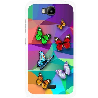 Snooky Printed Trendy Buterfly Mobile Back Cover For Huawei Honor Bee - Multicolour