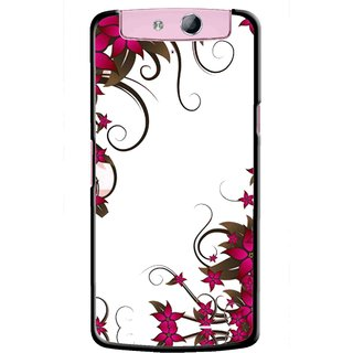 Snooky Printed Flower Creep Mobile Back Cover For Oppo N1 Mini - Multicolour
