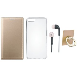 Moto E4 Plus Leather Flip Cover with with Ring Stand Holder, Silicon Back Cover and Earphones