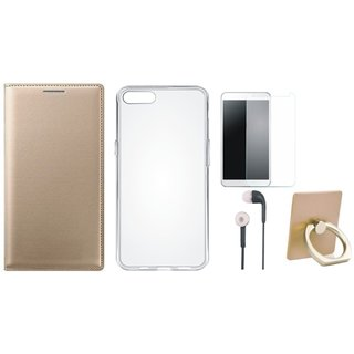 Moto E4 Plus Leather Flip Cover with with Ring Stand Holder, Silicon Back Cover, Tempered Glass and Earphones