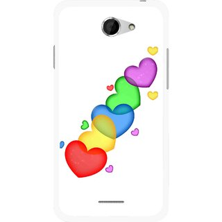 Snooky Printed Colorfull Hearts Mobile Back Cover For HTC Desire 516 - Multicolour