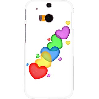 Snooky Printed Colorfull Hearts Mobile Back Cover For HTC One M8 - Multicolour