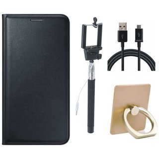 Motorola Moto E4 Plus Premium Leather Cover with Ring Stand Holder, Selfie Stick and USB Cable
