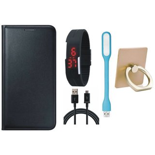 Motorola Moto E4 Plus Leather Cover with Ring Stand Holder, Digital Watch, USB LED Light and USB Cable