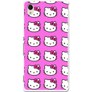 Snooky Printed Pink Kitty Mobile Back Cover For Sony Xperia M4 - Multi