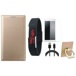 Vivo Y69 Flip Cover with Ring Stand Holder, Free Digital LED Watch, Tempered Glass and USB Cable