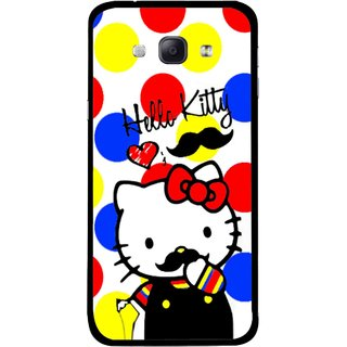 Snooky Printed moustache Kitty Mobile Back Cover For Samsung Galaxy A8 - Multicolour