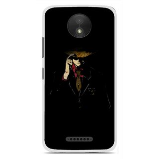 Snooky Printed Cow Bow Mobile Back Cover For Motorola Moto C Plus - Multicolour