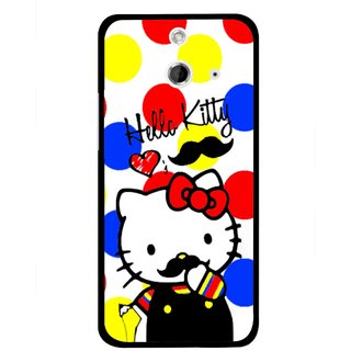 Snooky Printed moustache Kitty Mobile Back Cover For HTC One E8 - Multicolour