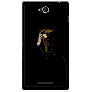 Snooky Printed Cow Bow Mobile Back Cover For Sony Xperia C - Multicolour