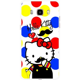Snooky Printed moustache Kitty Mobile Back Cover For Samsung Galaxy J7 (2016) - Multicolour