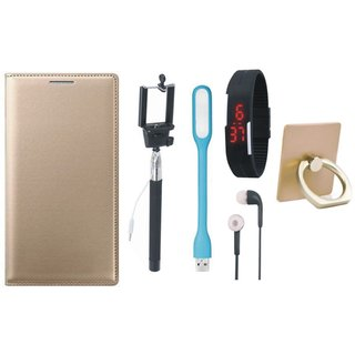 Vivo Y69 Premium Leather Cover with Ring Stand Holder, Selfie Stick, Digtal Watch, Earphones and USB LED Light