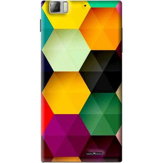 Snooky Printed Hexagon Mobile Back Cover For Lenovo K900 - Multi