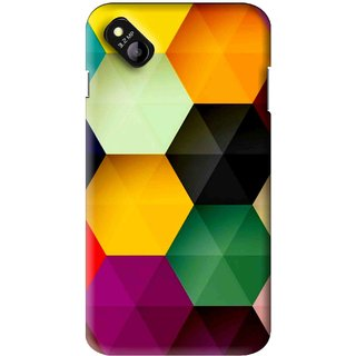 Snooky Printed Hexagon Mobile Back Cover For Micromax Bolt D303 - Multi