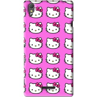Snooky Printed Pink Kitty Mobile Back Cover For Sony Xperia T3 - Multi