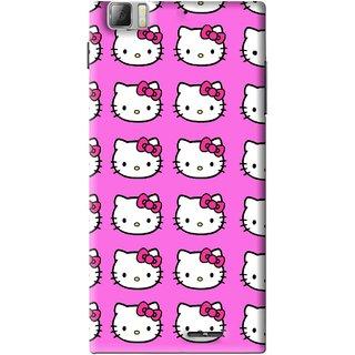 Snooky Printed Pink Kitty Mobile Back Cover For Lenovo K900 - Multi