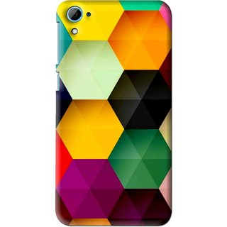 Snooky Printed Hexagon Mobile Back Cover For HTC Desire 826 - Multi