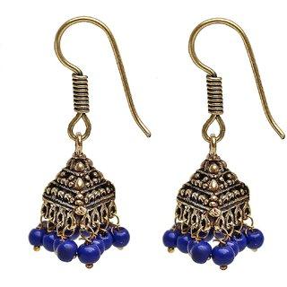 Lucky Jewellery Oxidized Black Metal Golden Oxidised Blue Jhumki Earring
