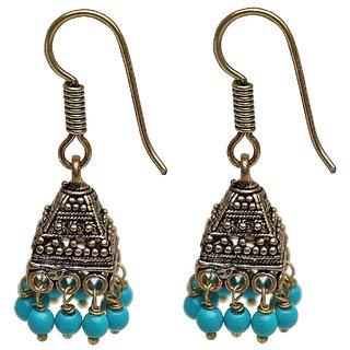 30c8d34f2 Lucky Jewellery Oxidized Black Metal Golden Oxidised Feroji Beads Jhumki  Earring