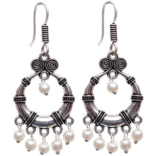 Lucky Jewellery Oxidized Black Metal Silver Oxidised White Pearl Bali Earring
