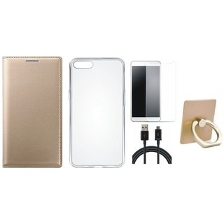 Vivo Y69 Leather Flip Cover with with Ring Stand Holder, Silicon Back Cover, Tempered Glass and USB Cable