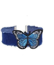 Intrend Forever Blue Denim 3D Butterfly Choker Necklace for Women