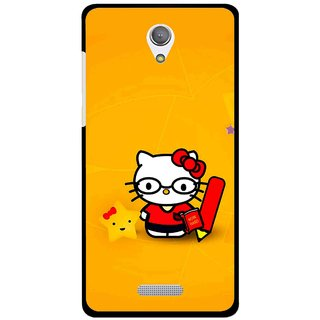 Snooky Printed Kitty Study Mobile Back Cover For Gionee Marathon M4 - Orange