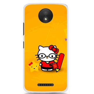 Snooky Printed Kitty Study Mobile Back Cover For Motorola Moto C Plus - Orange
