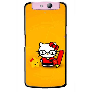 Snooky Printed Kitty Study Mobile Back Cover For Oppo N1 Mini - Orange