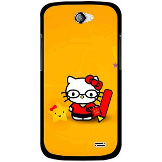 Snooky Printed Kitty Study Mobile Back Cover For Gionee Pioneer P2 - Orange
